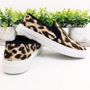 Qupid NWT Leopard Canvas Print Slides Sneakers